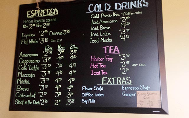 Glacier Ledge Coffee Nook Drink Menu